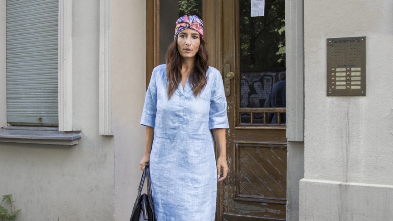 OUTFIT | LINEN DRESS RIANI, LEATHER BAG & TURBAN