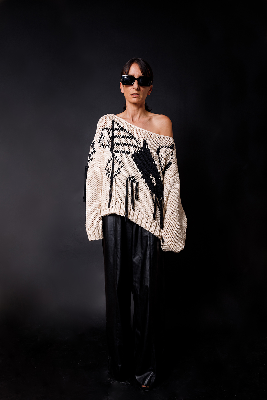 Dondup Knit pullover x leather pants