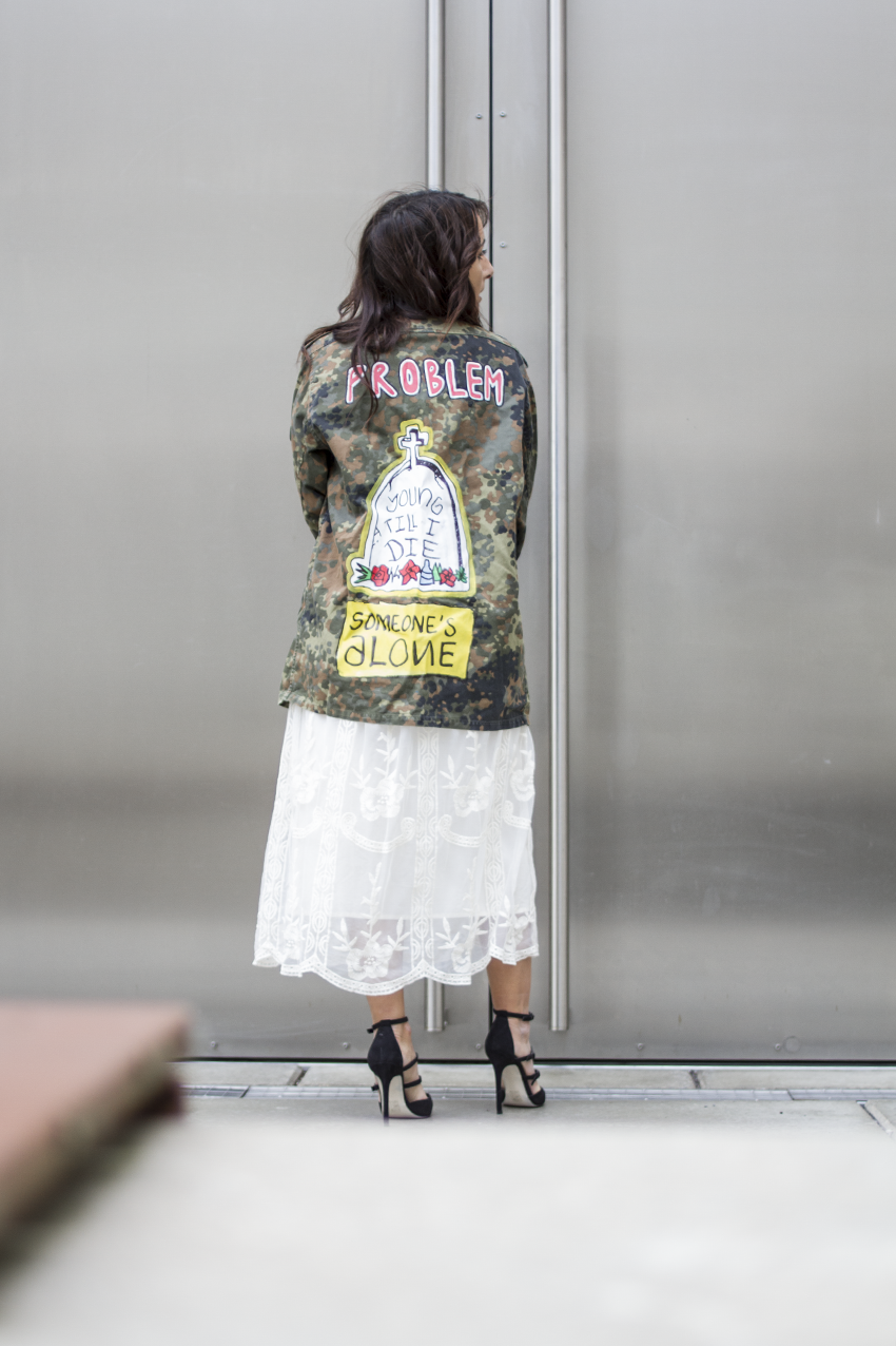 OUTFIT | SONIUSH Military Statement Jacket, Midi Romantic Dress